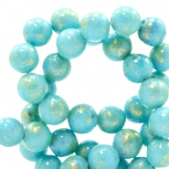 6 mm natural stone beads round jade Gold-Clearwater Blue