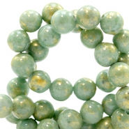 8 mm natural stone beads round jade Gold-Shire Green