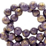 8 mm natural stone beads round jade Gold-Candy Violet Purple