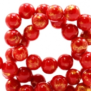 4 mm natural stone beads round jade Gold-Scarlet Red