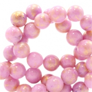 8 mm natural stone beads round jade Gold-Palace Rose Pink