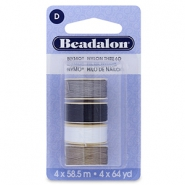Beadalon Nymo Wire 0.3mm 4-pack White, Grey, Brown, Black