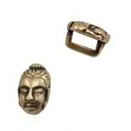 DQ European metal sliders Buddha Ø5.2x2.2mm Antique Bronze (nickel free)