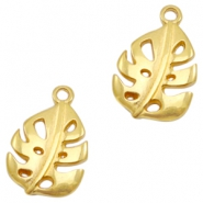 DQ European metal charms leaf Gold (nickel free)