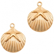 DQ European metal charms shell with seastar Rose Gold (nickel free)