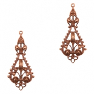 Charms TQ metal drop shaped Victorian style Copper (Nickel Free)