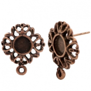 Findings TQ metal earrings with setting for 7mm cabochon or SS34 Copper (Nickel Free)