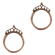 Charms DQ metal ring 27mm with crown Copper (Nickel Free)