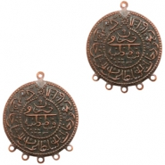 Charms TQ metal Oriental coin 30mm with 5 loops Copper (Nickel Free)