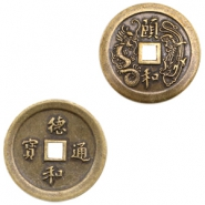 Charms TQ metal Chinese lucky coin 25mm Antique Bronze (Nickel Free)