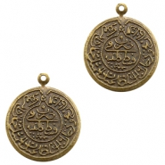 Charms TQ metal Oriental coin 20mm Antique Bronze (Nickel Free)