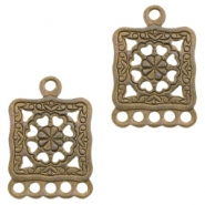 Charms TQ metal with 5 loops Antique Bronze (Nickel Free)