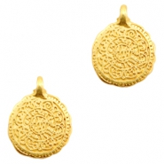 Charms TQ metal connector oriental coin 17mm Gold (Nickel Free)