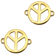 Charms TQ metal connector peace sign Gold (Nickel Free)