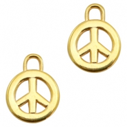Charms TQ metal peace sign 17mm Gold (Nickel Free)