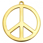 Charms TQ metal peace sign 60mm Gold (Nickel Free)