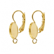 Findings TQ metal earrings adjustable setting for 10mm cabochon with loop Gold (Nickel Free)