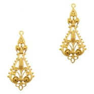 Charms TQ metal drop shaped Victorian style Gold (Nickel Free)