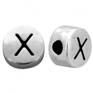 Metal-look beads letter X Antique Silver