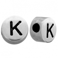 Metal-look beads letter K Antique Silver