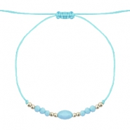 Ready-made Bracelets Stone&Faceted Light Turquoise Blue-light gold
