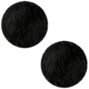 Faux fur cabochons 12mm Black