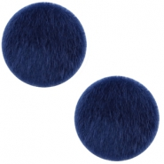Faux fur cabochons 12mm Dark Blue