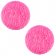 Faux fur cabochons 12mm Fuchsia Pink