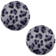 Faux fur cabochons leopard 12mm Grey-Blue