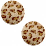 Faux fur cabochons leopard 12mm Brown