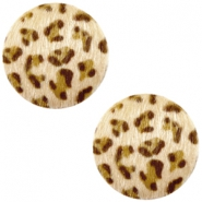 Faux fur cabochons leopard 12mm Light Brown