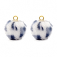 Pompom charms Faux fur leopard White-Grey