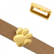 DQ European metal sliders animal paw Ø10.2x2.2mm Gold (nickel free)