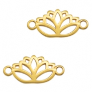 DQ European metal charms connector lotus Gold (nickel free)