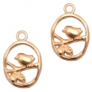 DQ European metal charms bird Rose Gold (nickel free)