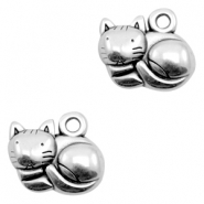 DQ European metal charms cat Antique Silver (nickel free)