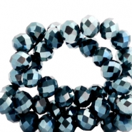 Top faceted beads 6x4mm disc Montana Blue-Top Shine Coating
