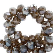 Top faceted beads 6x4mm disc Dark Taupe Grey-Top Shine Coating