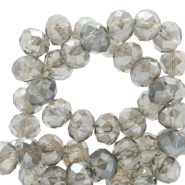 Top faceted beads 4x3mm disc Light Grey-Top Shine Coating