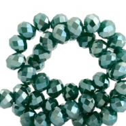 Top faceted beads 6x4mm disc Dark Green-Top Shine Coating