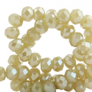 Top faceted beads 4x3mm disc Cress Ash Green-Top Shine Coating
