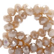 Top faceted beads 6x4mm disc Nude Brown-Top Shine Coating