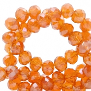 Top faceted beads 6x4mm disc Mandarin Orange-Top Shine Coating