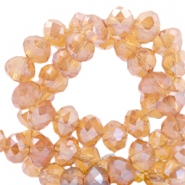 Top faceted beads 4x3mm disc Light Orange-Top Shine Coating