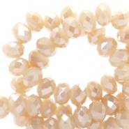 Top faceted beads 4x3mm disc Rose Cream-Top Shine Coating