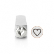 ImpressArt design stamps Outlined Heart 6mm Silver
