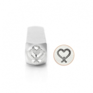 ImpressArt design stamps Love Knot Heart 9.5mm Silver