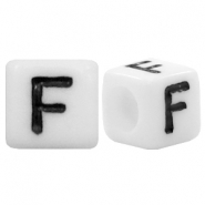 Acrylic letter beads letter F White