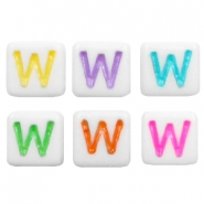 Acrylic letter beads letter W Multicolour-White