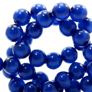 Polaris beads round 6 mm pearl shine Cobalt Blue